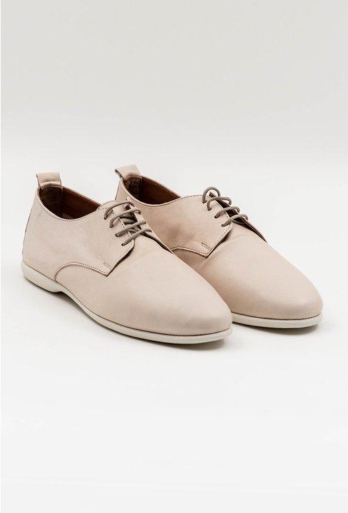 Pantofi casual taupe din piele naturala cu siret