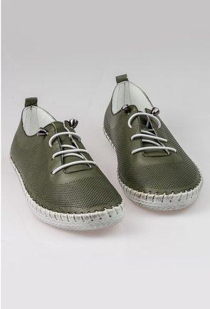 Pantofi casual verzi din piele naturala cu design perforat