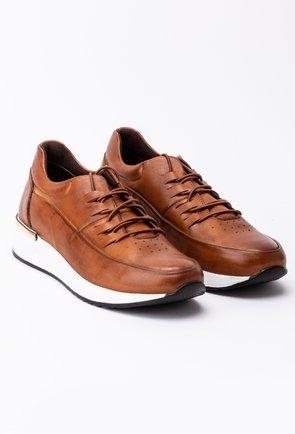 Pantofi cognac din piele naturala box cu talpa alba