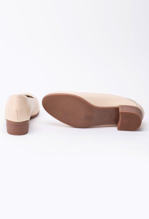 Pantofi crem din piele naturală cu toc maro