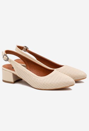 Pantofi crem din piele naturala cu aspect perforat
