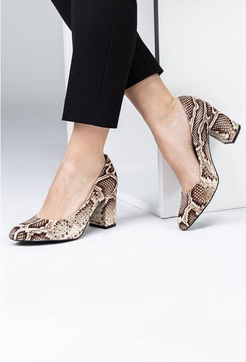 Pantofi cu toc din piele naturala snake print