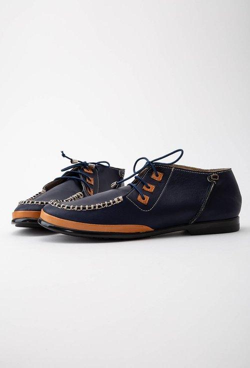 Pantofi casual bleumarin din piele cu detalii maro