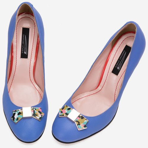 design inovator New York ultima moda Pantofi din piele naturala mata, albastri cu accesorii din piele ...
