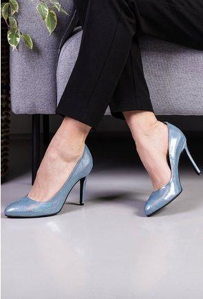 Pantofi din piele naturala bleu cu insertii sclipitoare
