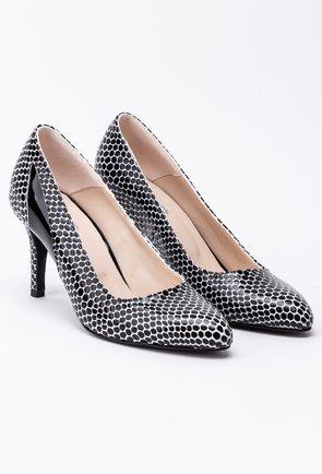 Pantofi din piele naturala cu buline negre din lac