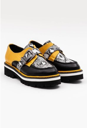 Pantofi din piele naturala cu detalii snake print