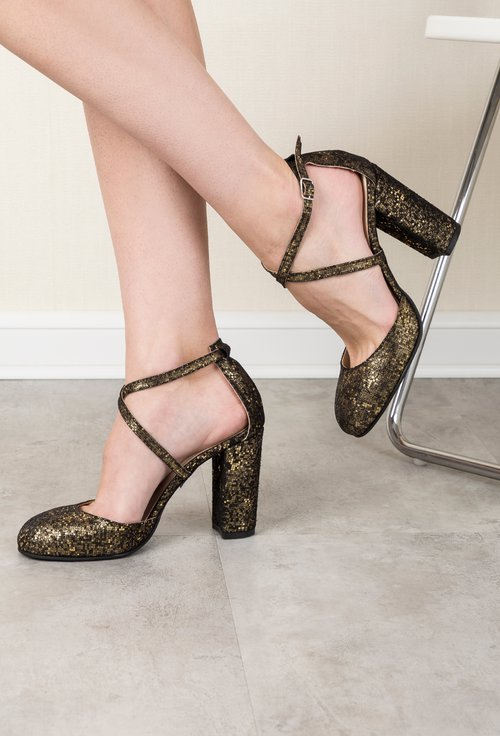 Pantofi din piele naturala cu glitter auriu Yolanda