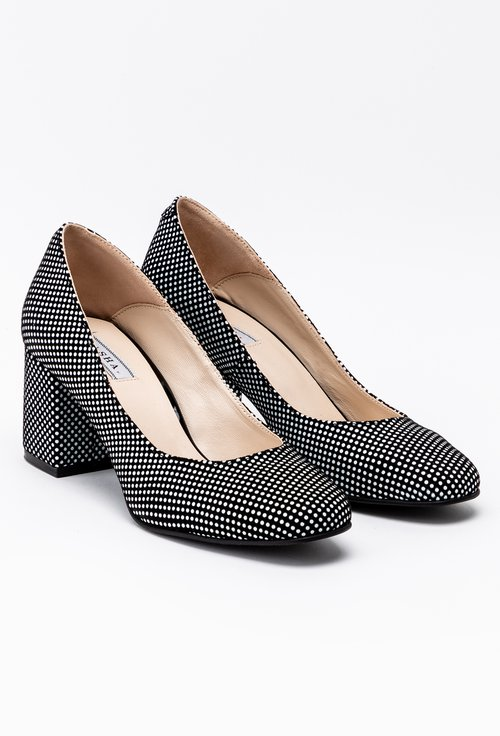 Pantofi din piele naturala cu imprimeu cu buline