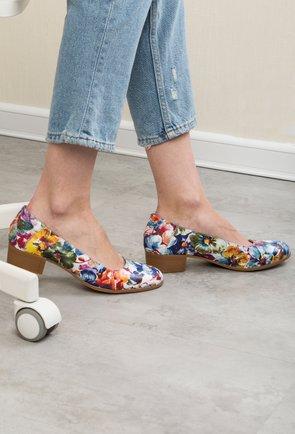 Pantofi din piele naturala cu imprimeu floral multicolor Edith
