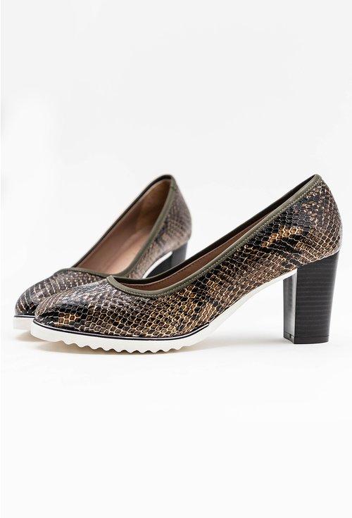 Pantofi din piele naturala cu snake print verde