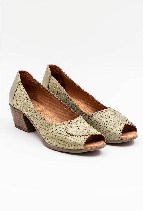 Pantofi din piele naturala cu toc gros nuanta verde deschis