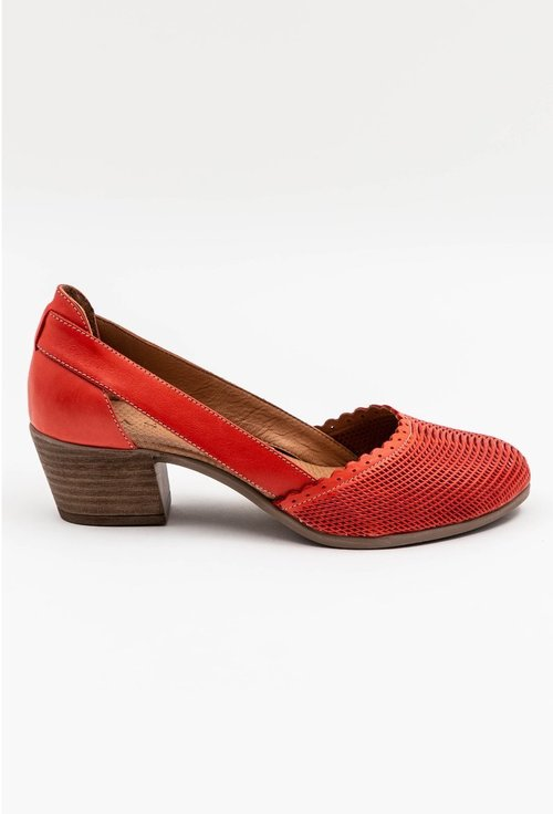 Pantofi din piele naturala cu toc nuanta rosu corai