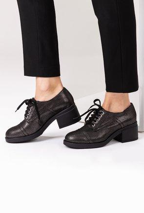 Pantofi din piele naturala gri cu inseratii sclipitoare