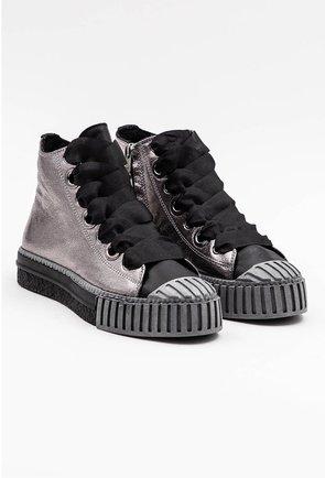 Pantofi din piele naturala gri metalizat cu siret tip panglica
