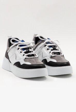 Pantofi din piele naturala in nuante de alb, gri si negru