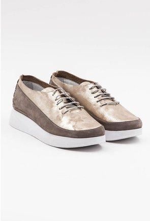 Pantofi din piele naturala in nuante de bej si insertii sclipitoare