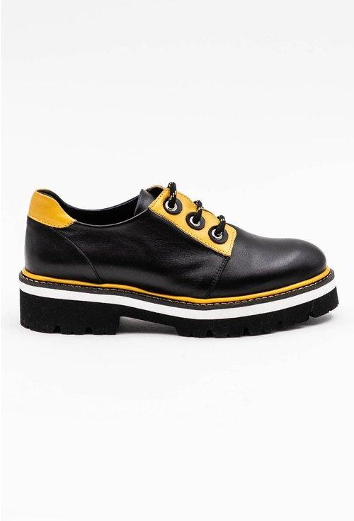 Pantofi din piele naturala negri cu detalii galbene