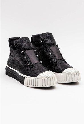 Pantofi din piele naturala negri cu influente ale stilului sport
