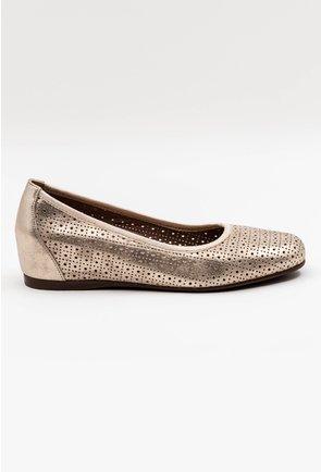 Pantofi din piele naturala nuanta auriu