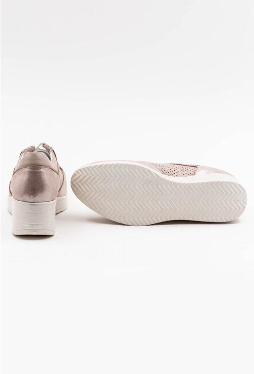 Pantofi din piele naturala nuanta roz pal cu insertii sclipitoare