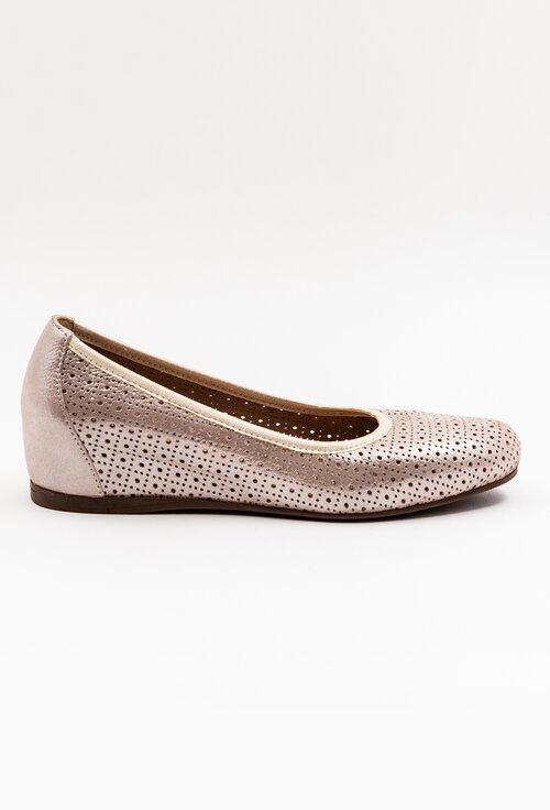 Pantofi din piele naturala nuanta roze sidefat
