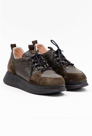 Pantofi din piele naturala nuanta verde kaki