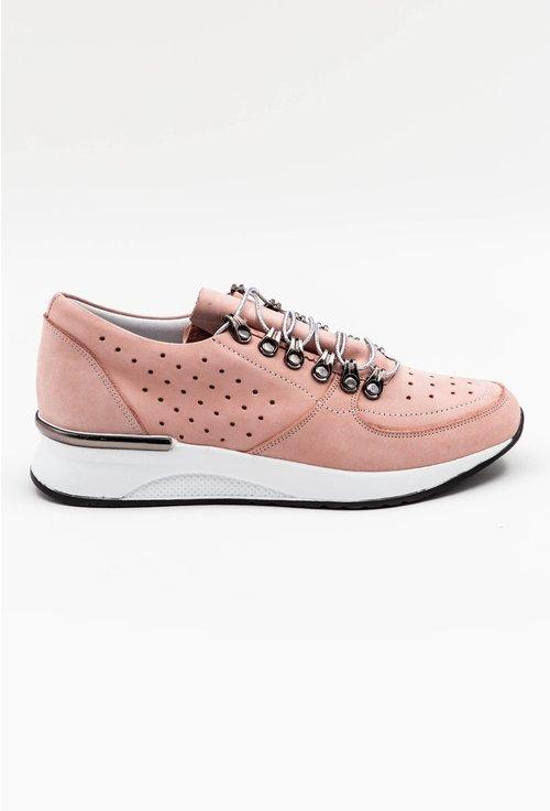 Pantofi din piele naturala perforata nuanta roz pal