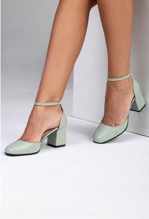 Pantofi din piele nuanta verde deschis pastelat