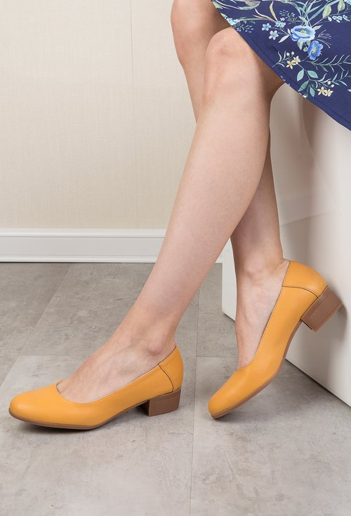 Pantofi galben mustar din piele naturala Evi