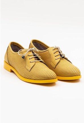 Pantofi galbeni din piele naturala cu detalii abstracte