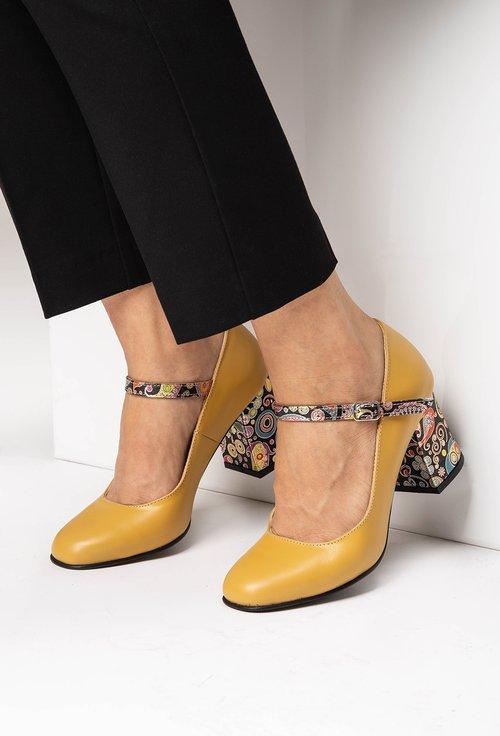 Pantofi galbeni din piele naturala cu detalii colorate pe toc Molly