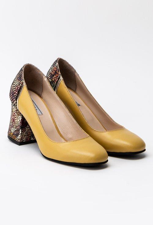 Pantofi galbeni din piele naturala cu imprimeu floral pe toc