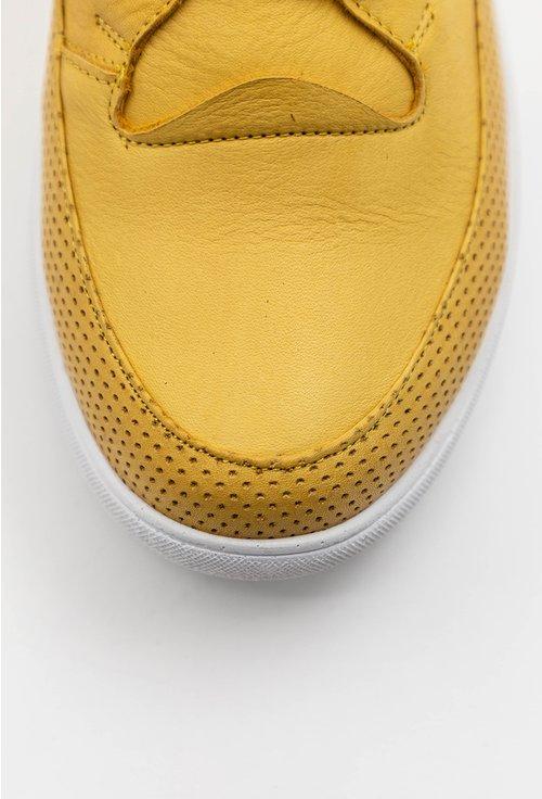 Pantofi galbeni din piele naturala cu talpic buretat