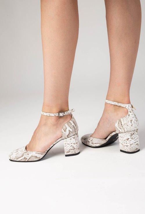 Pantofi grej din piele naturala cu imprimeu tip piele de reptila Yves