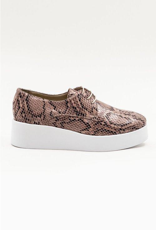 Pantofi grej din piele naturala cu snake print