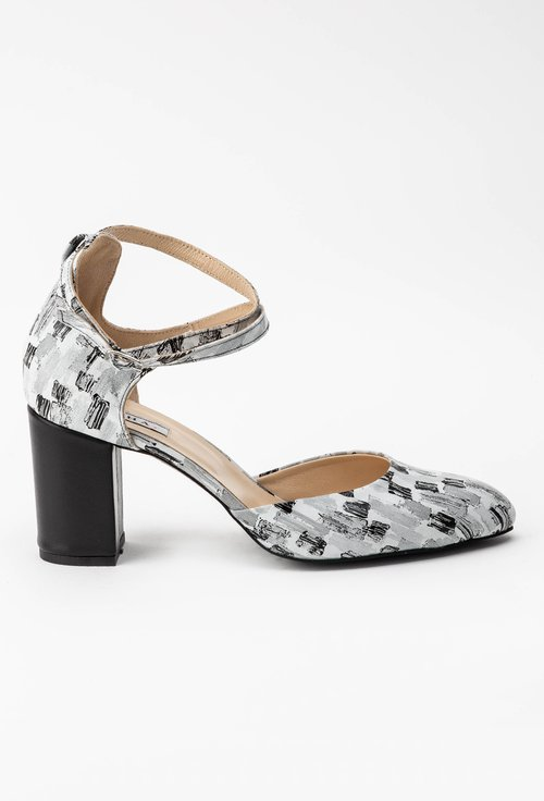 Pantofi gri din piele naturala cu imprimeu abstract Lucrezia
