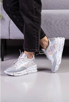 Pantofi gri din piele naturala cu insertii sclipitoare