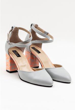 Pantofi gri din piele naturala cu toc colorat