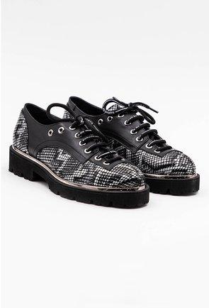 Pantofi gri din piele naturala snake print
