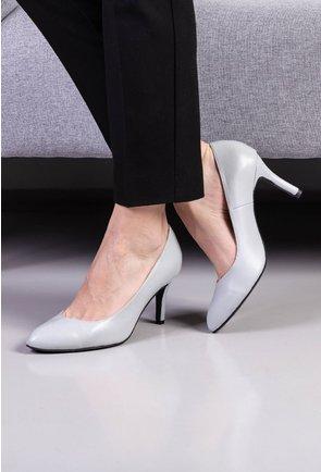 Pantofi gri stiletto din piele naturala