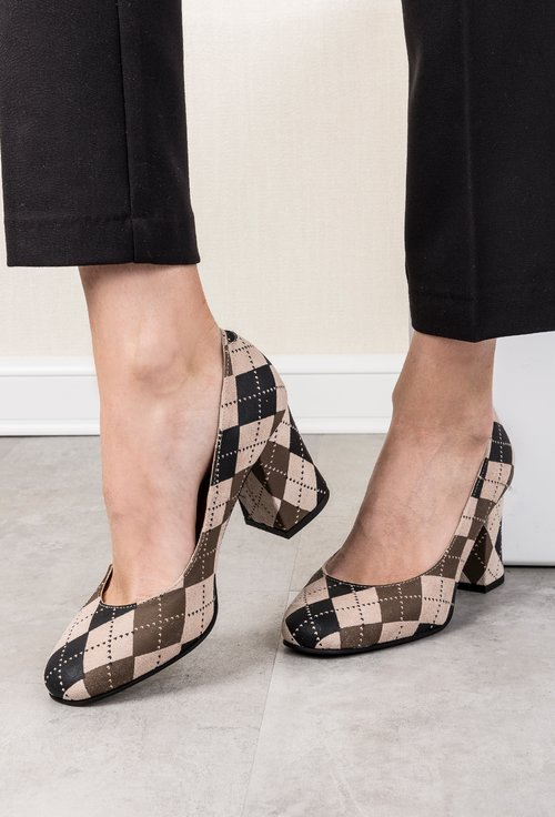 Pantofi in carouri din piele naturala Alice