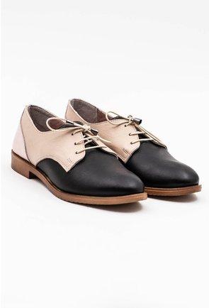 Pantofi in nuante de negru si bej din piele naturala