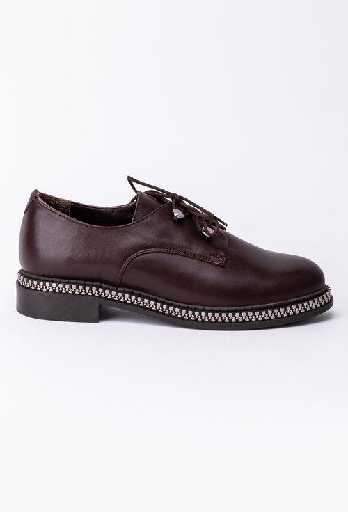 Pantofi maro brun din piele cu detaliu cu fermoar