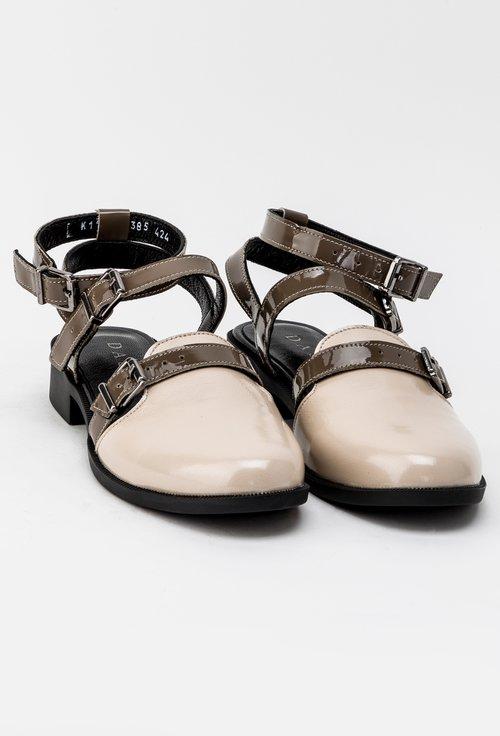 Pantofi maro din piele naturala cu barete Silvia