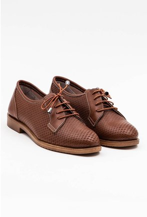 Pantofi maro din piele naturala cu detalii abstracte