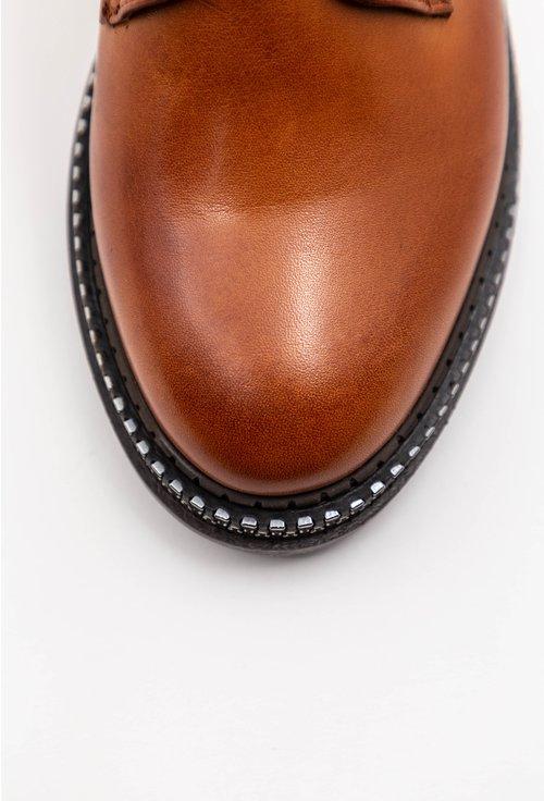 Pantofi maro din piele naturala cu fermoar decorativ