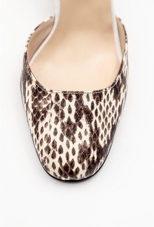Pantofi maro din piele naturala cu imprimeu tip piele de reptila