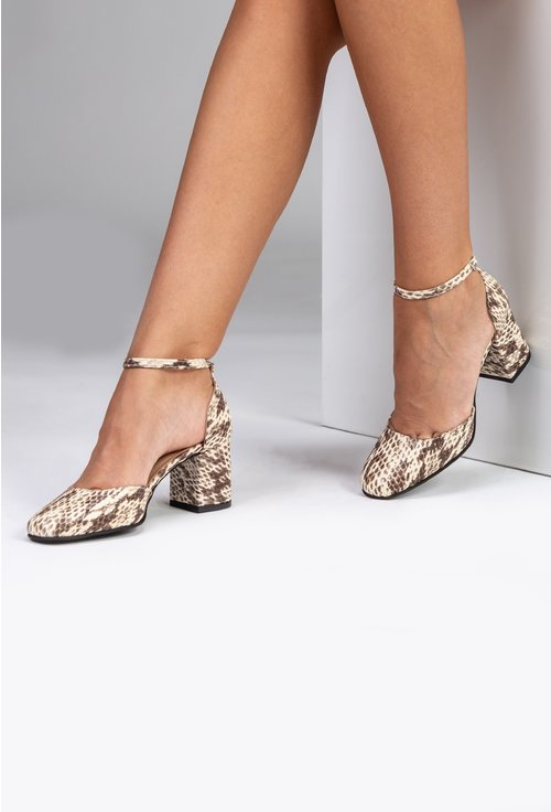 Pantofi maro din piele naturala cu imprimeu tip piele de sarpe