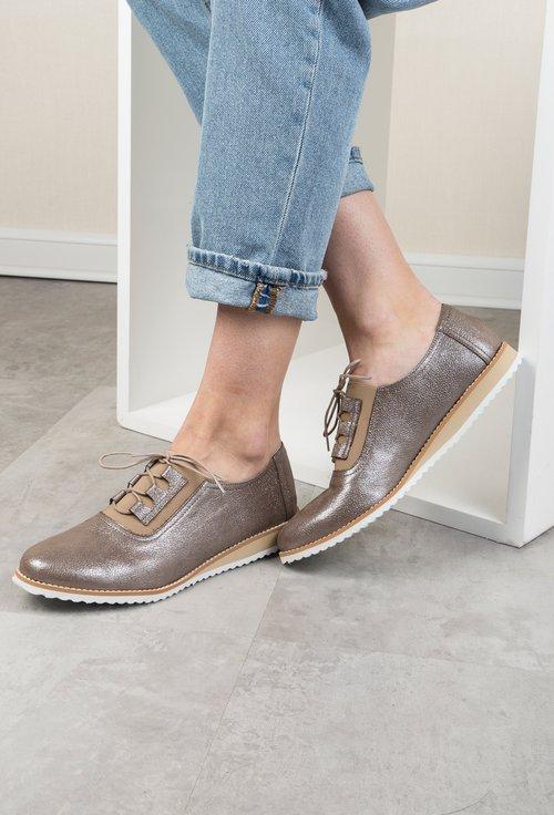 Pantofi maro din piele naturala cu inseratii sclipitoare Rammy
